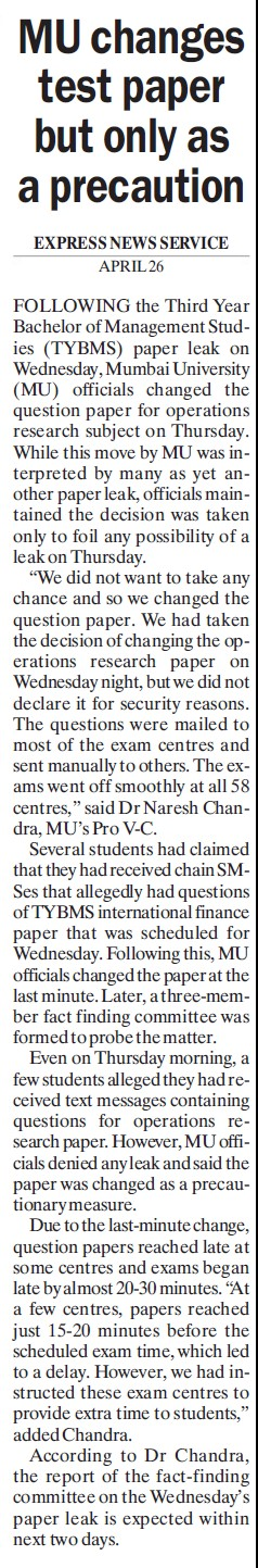 MU changes test paper but only as precaution (University of Mumbai)
