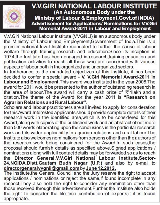 Nomination for VV Giri Memorial Award 2011 (VV Giri National Labour Institute (VVGNLI))