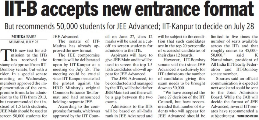 IIT B accepts new entrance format (Indian Institute of Technology (IITB))