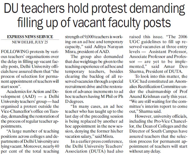 Du teachers hold protest demanding filling up of vacant faculty posts (Delhi University)