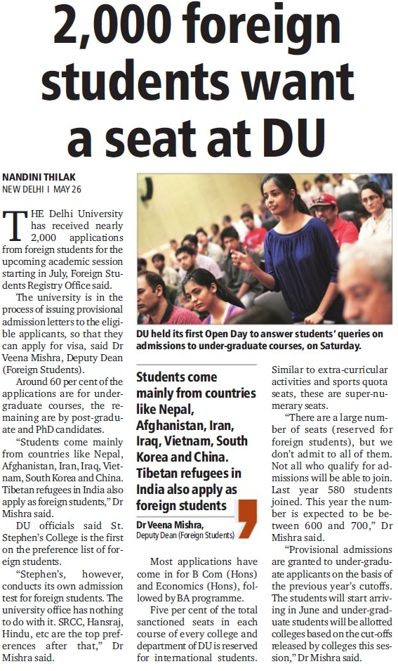 2000 foreign students want seat at DU (Delhi University)