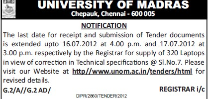 Submission of Tender (University of Madras)