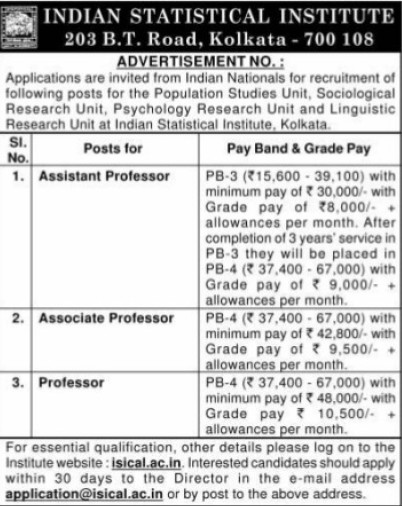 Asstt Professor on regular basis (Indian Statistical Institute)