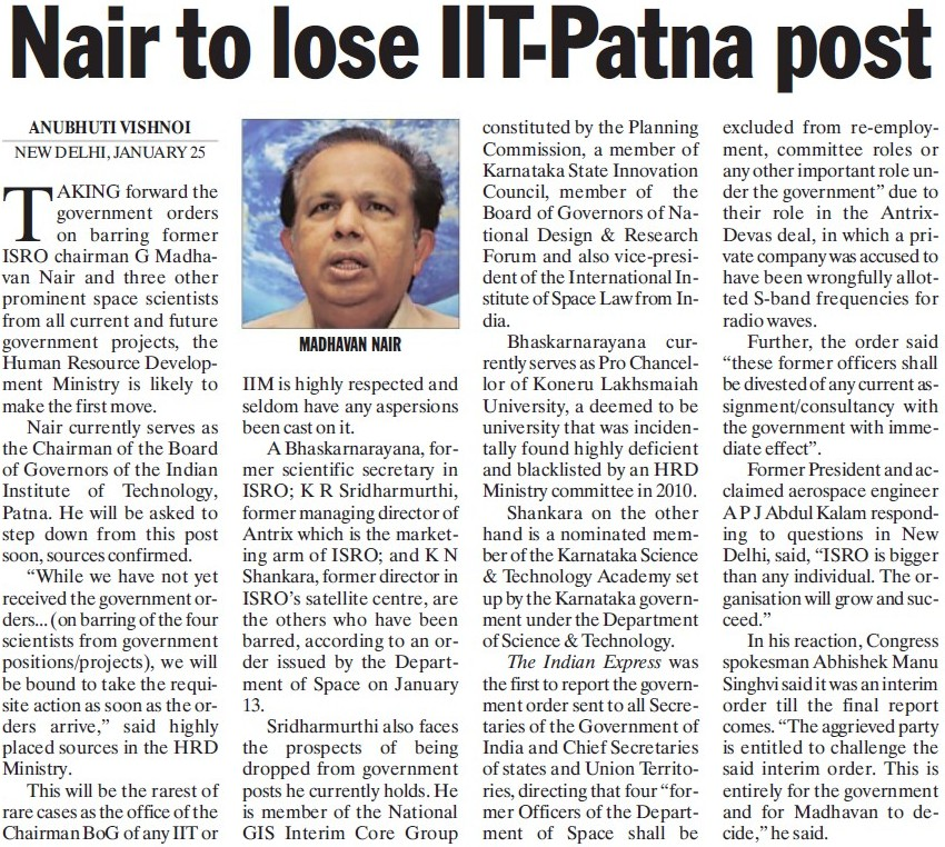 Nair to lose IIT Patna post (Indian Institute of Technology IIT)