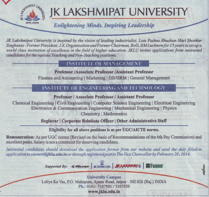Asstt Professor for PCM (JK Lakshmipat University)