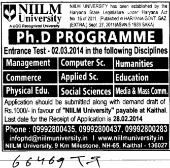 PhD Programme in Humanities and Mass Communication (NIILM University)