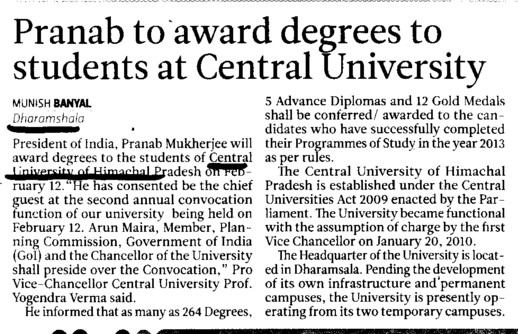 Pranab to award degrees to students (Central University of Himachal Pradesh)