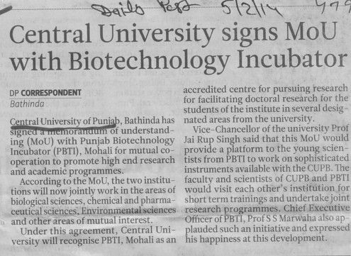 Central University signs MoU with Biotechnology incubator (Central University of Punjab)