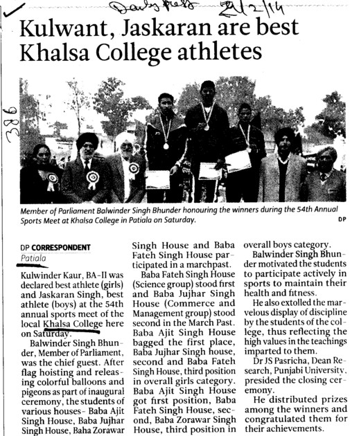 Kulwant, Jaskaran are best Khalsa College athletes (Khalsa College)
