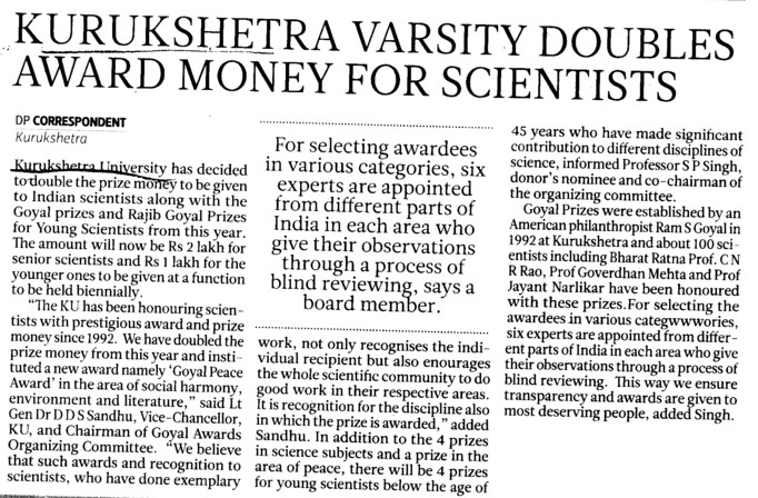 KU doubles award money for scientists (Kurukshetra University)