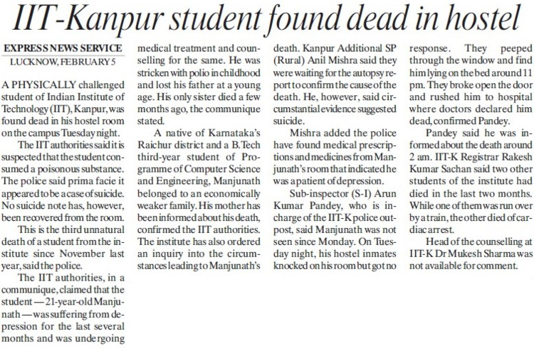 Student found dead in Hostel (Indian Institute of Technology (IITK))