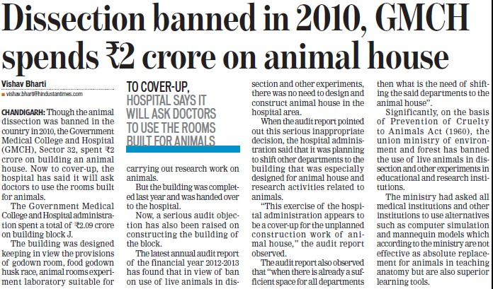 GMCH spends Rs 2 cr on animal house (Government Medical College and Hospital (Sector 32))