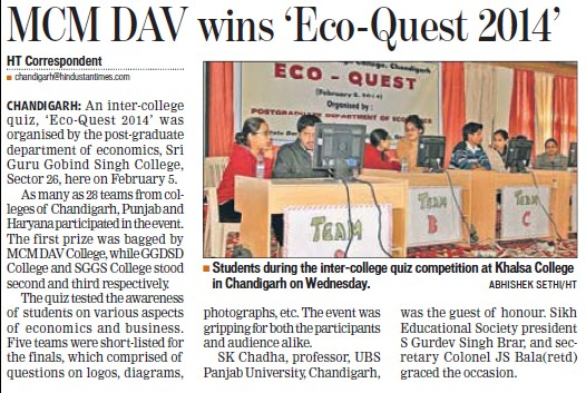 MCM DAV wins Eco Quest 2014 (MCM DAV College for Women)