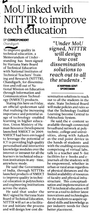 MoU inked with NITTTR to improve technical education (NITTTR)