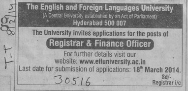 Registrar and Finance Officer (English and Foreign Languages University)