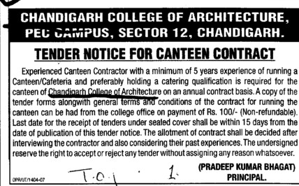 Canteen Contract (Chandigarh College of Architecture)