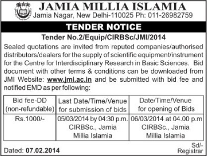Supply of Scientific equipments (Jamia Millia Islamia)