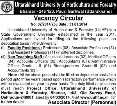 Asstt Professor and Accountants (Uttarakhand University of Horticulture and Forestry UUHF)