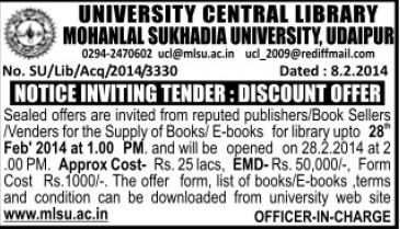 Supply of Books (Mohanlal Sukhadia University)
