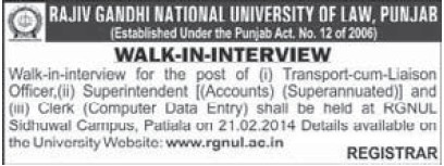 Transport cum Liaision Officer (Rajiv Gandhi National University of Law (RGNUL))