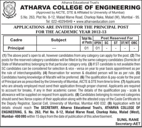 Principal on regular basis (Atharva College of Engineering (ACE))
