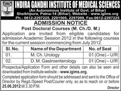 Post Doctoral Courses (Indira Gandhi Institute of Medical Sciences (IGIMS))