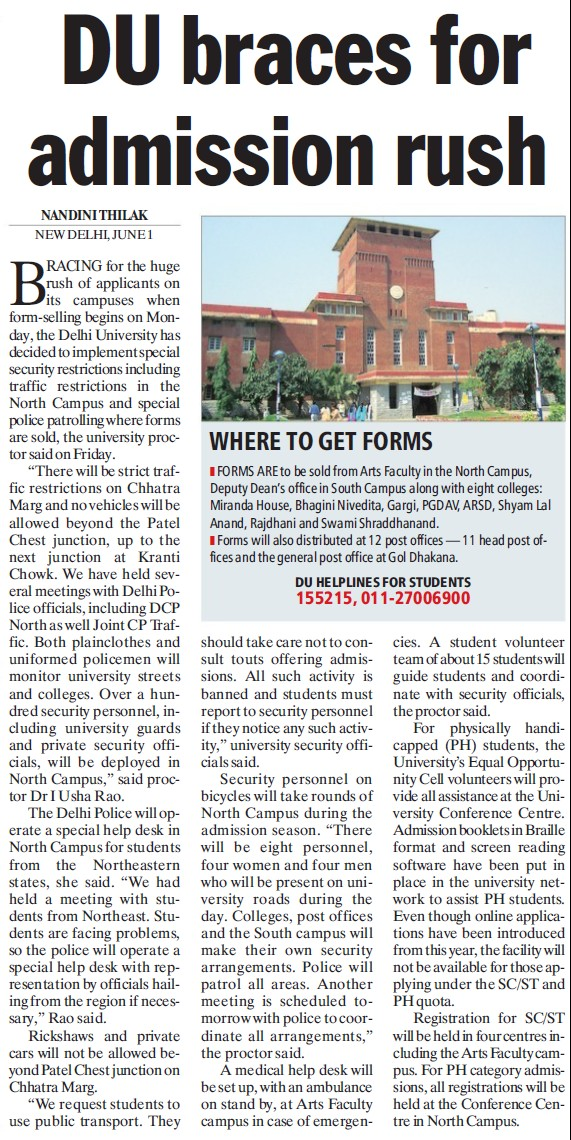 DU braces for admission rush (Delhi University)