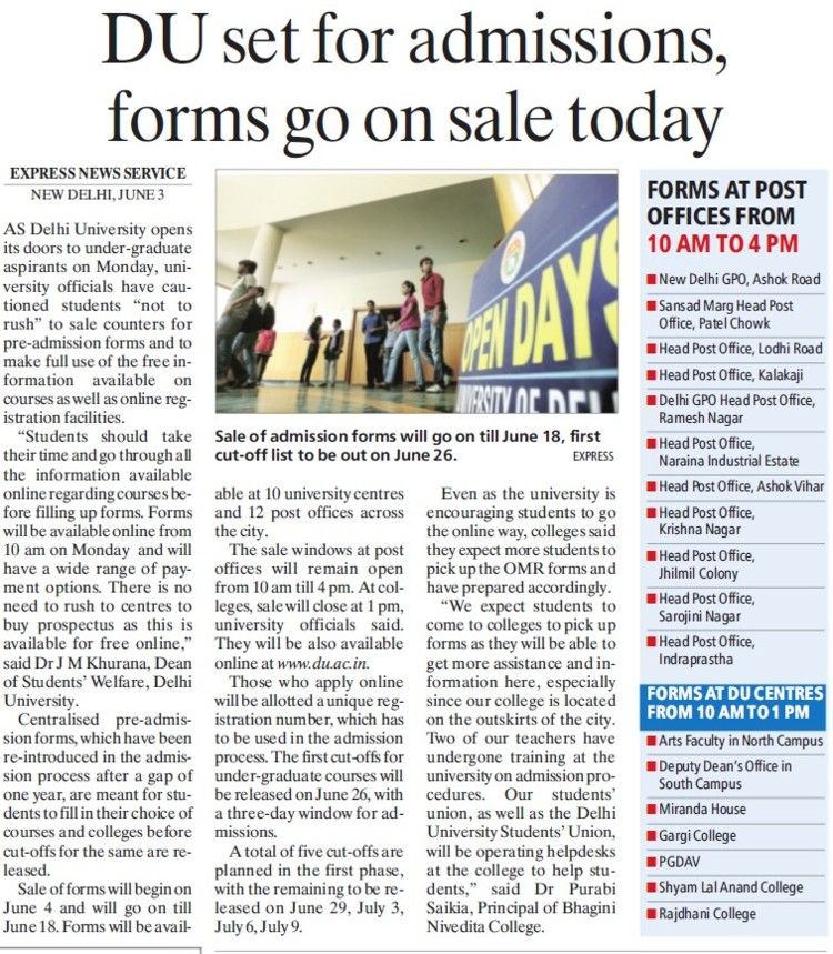 DU set for admissions forms go on sale today (Delhi University)