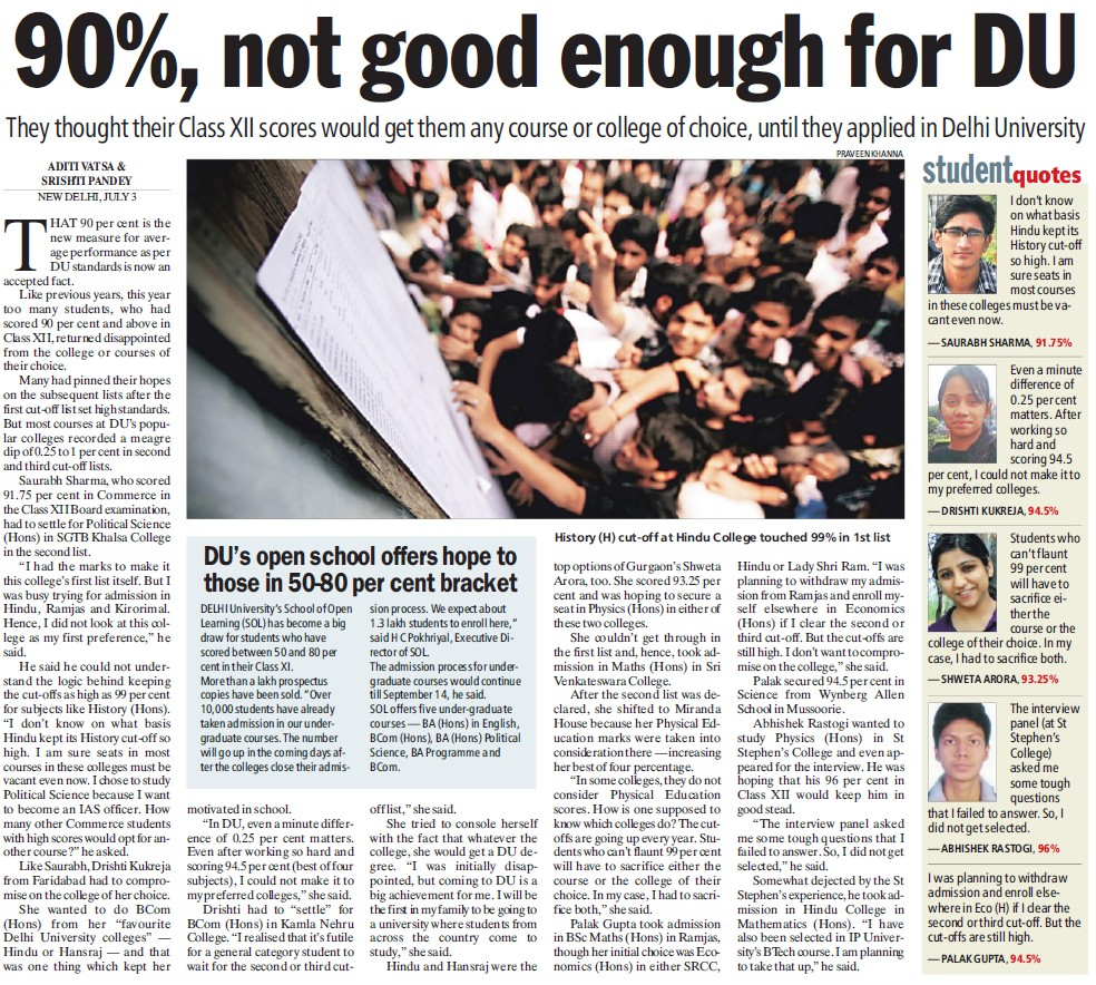 90 percent no good enough for DU (Delhi University)