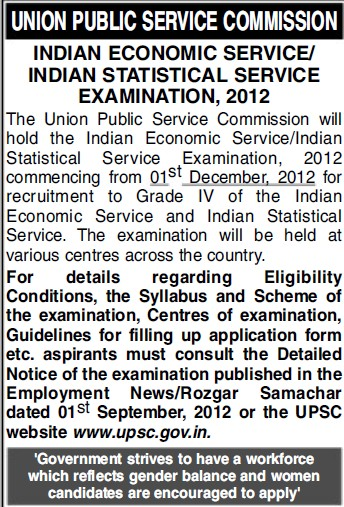 Indian Economic Service Examination 2012 (Union Public Service Commission (UPSC))