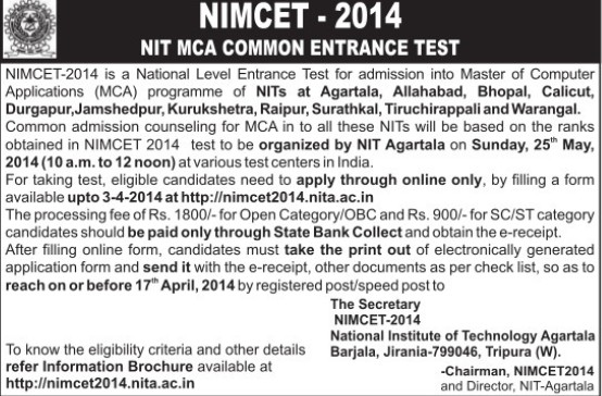 NIMCET 2014 (National Institute of Technology NIT)