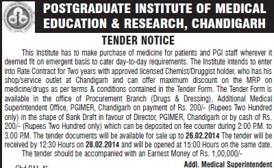Purchase of Medicine for patients (Post-Graduate Institute of Medical Education and Research (PGIMER))