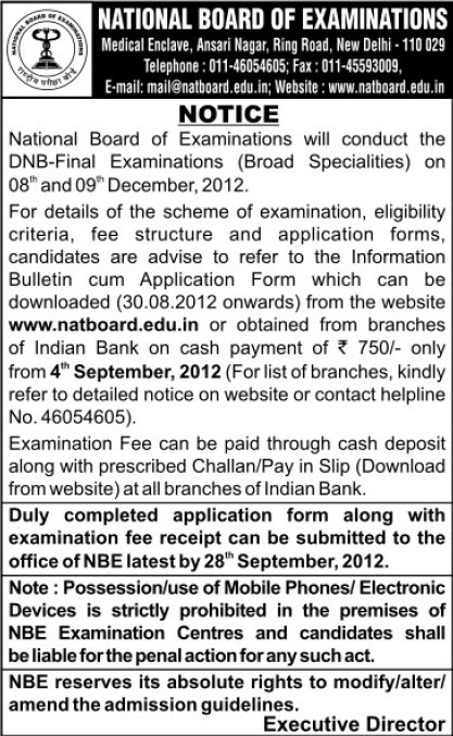 DNB Final Examinations (National Board of Examinations)