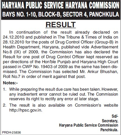 Result declaration for post of Drug Control Officer (Haryana Public Service Commission (HPSC))