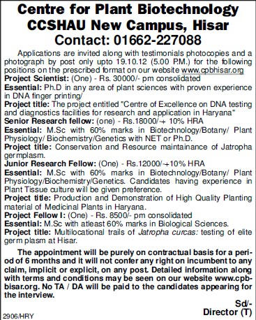 Project Scientist (Ch Charan Singh Haryana Agricultural University (CCSHAU))