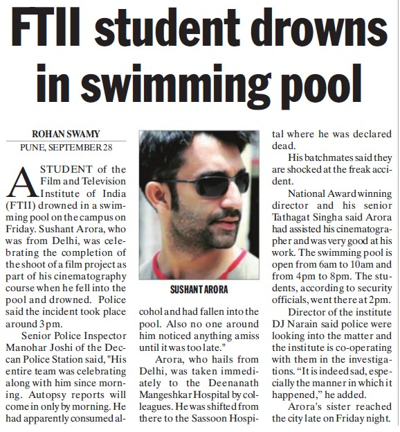 FTII student drowns in swimming pool (Film and Television Institute of India)
