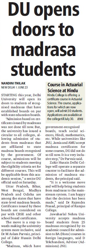 DU opens doors to madrasa students (Delhi University)