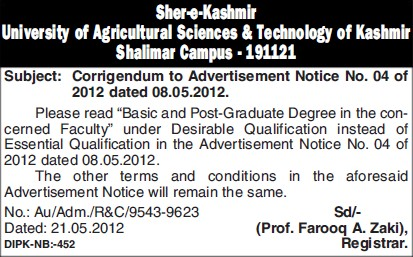 Post Graduate Degree (Sher-e-Kashmir University of Agricultural Sciences and Technology of Kashmir)