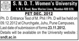 M Phil and PhD Programme (SNDT Women University)