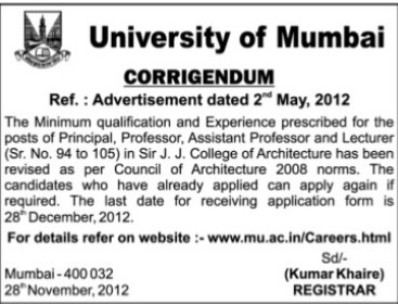 Principal, Lecturer and Asstt Professor (University of Mumbai)