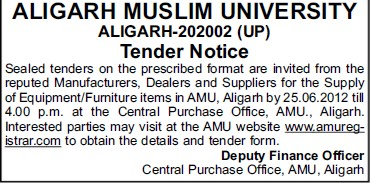 Supply of Furniture items (Aligarh Muslim University (AMU))