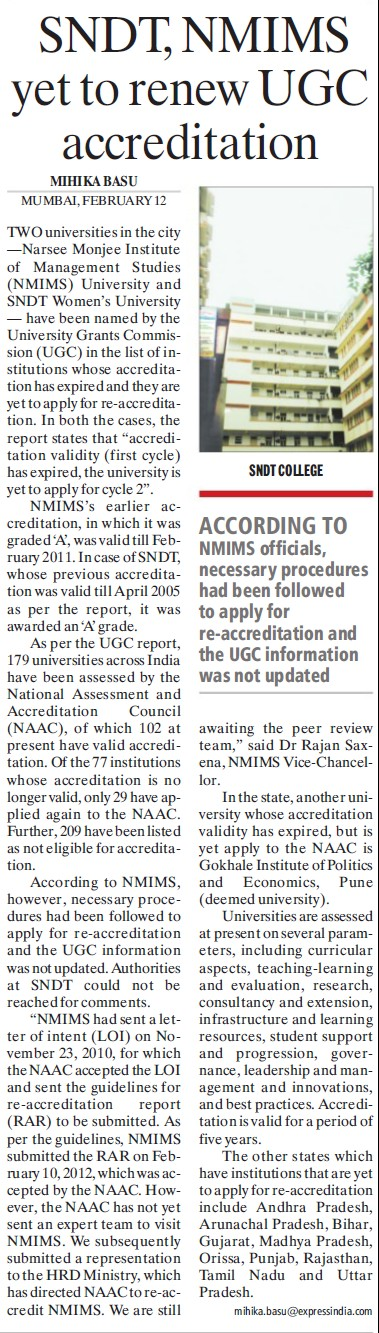 NMIMS yet to renew UGC accreditation (University Grants Commission (UGC))