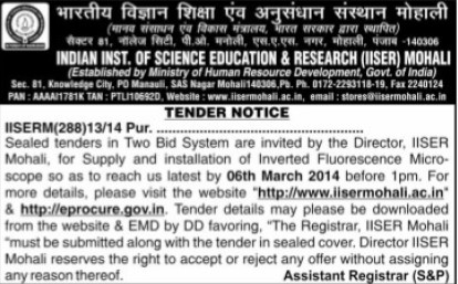 Supply of Fluorescence Microscope (Indian Institute of Science Education and Research (IISER))