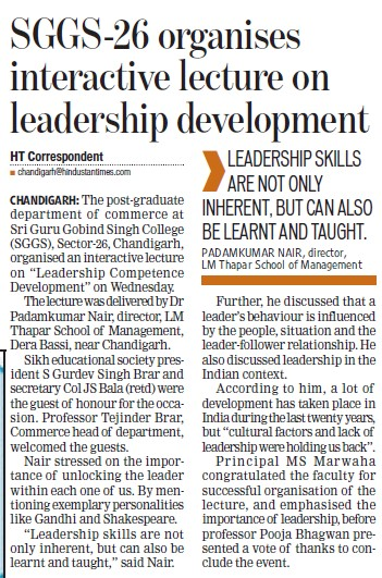 SGGS organises interactive lecture on leadership development (SGGS Khalsa College Sector 26)