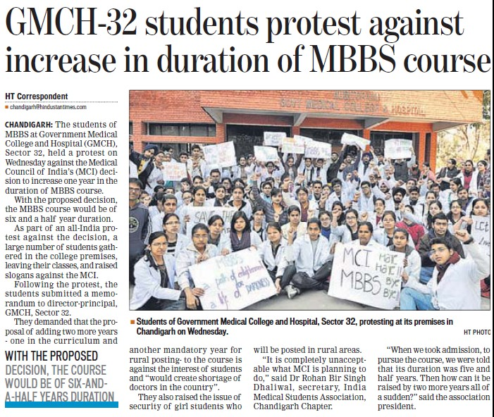 Students protest against increase in duration of MBBS course (Government Medical College and Hospital (Sector 32))