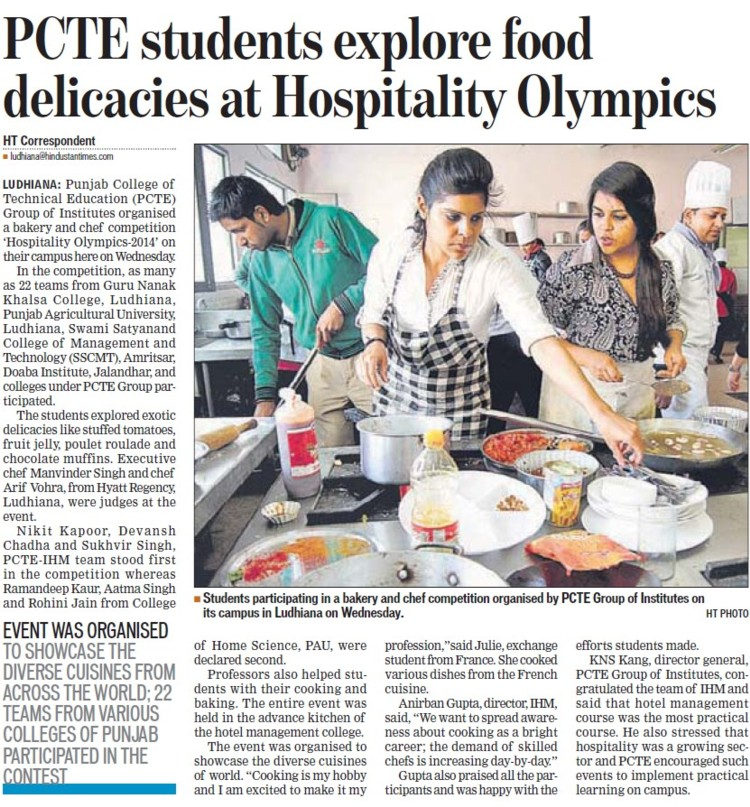 Students explore food delicacies at Hospitality Olympics (PCTE Group of Insitutes Baddowal)