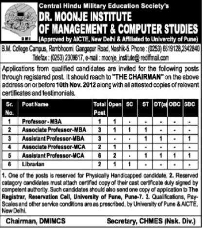 Asstt Professor for MBA (Dr Moonje Institute of Management and Computer Studies (DMIMCS))
