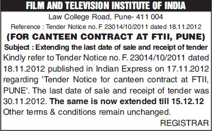 Canteen Contract (Film and Television Institute of India)