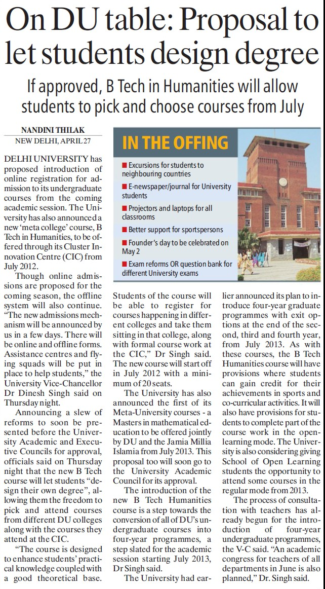 Proposal to let students design degree (Delhi University)