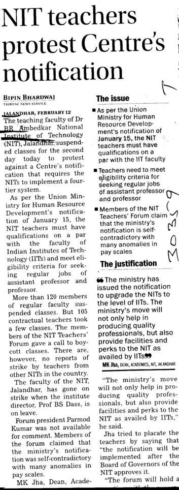 NIT teachers protest centres notification (Dr BR Ambedkar National Institute of Technology (NIT))